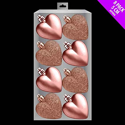 Pack Of 8 5cm Rose Gold Heart Baubles Matte And Glitter Christmas Tree Decorations