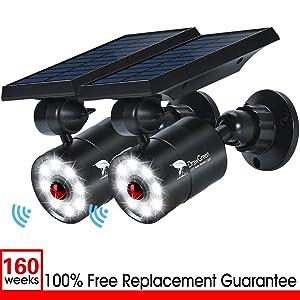 Outdoor Solar Motion Sensor Light of 2, 9-Watt(110W Equ.) 1400-Lumen Spotlight, LED Solar Flood Security Lights for Garden Driveway Patio, 3-Year Battery Life, 160-Week 100% FREE Replacement Guarantee