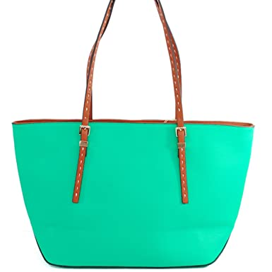 153a5d1629b4 Alyssa Mk Designer Inspiredfashion Exotic Medium Travel Tote Simple Color  Shoulder Handbag Purse Michael Kors Similarin Mint Green  Amazon.co.uk   Clothing