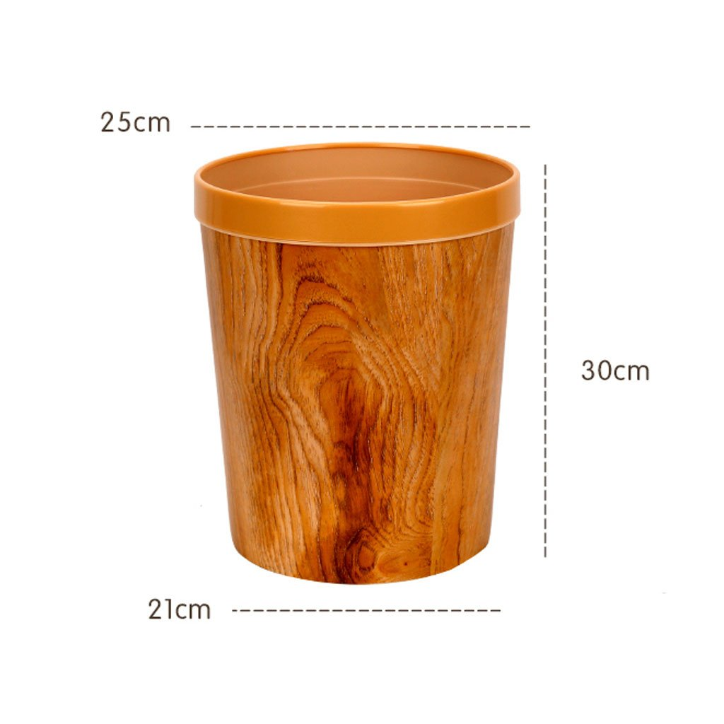 Durable Garbage Can, Waste Basket for Bathroom, Bedroom, Office and More, 12 Liter Capacity with Stylish Barn Wood Exterior Finish, Uncovered Household Round Trash Can With Pressure Ring by Shi xiang shop (Image #3)