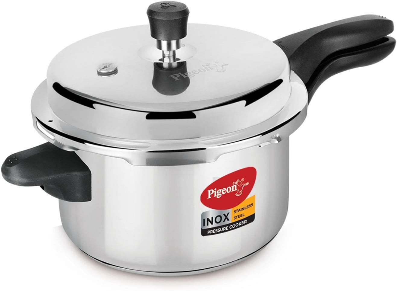 Pigeon - Inox Stainless Steel Outer Lid Induction Base Pressure Cooker - Cook delicious food in less time: soups, rice, legumes, and more - 5 Liter