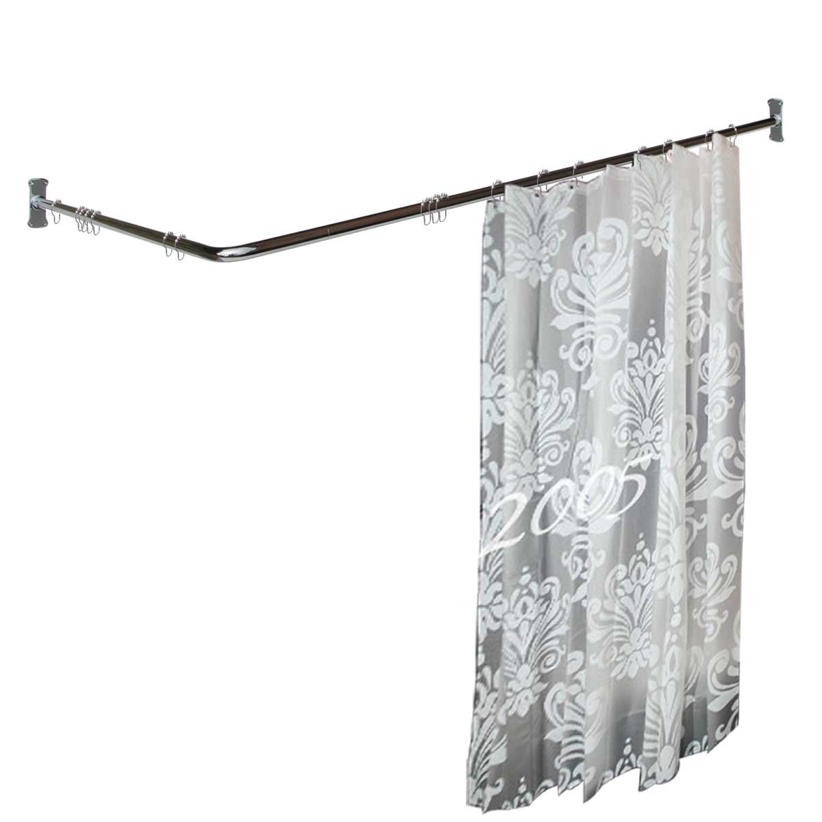 Amazon.com: Renovatoru0027s Supply Two Sided Shower Curtain Rod Chrome Plated  Brass 7/8 Dia. 5 1/2u0027 Long X 3u0027 Proj.: Home U0026 Kitchen