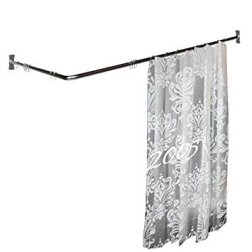 Amazon.com: Renovator\'s Supply Two-sided Shower Curtain Rod Chrome ...
