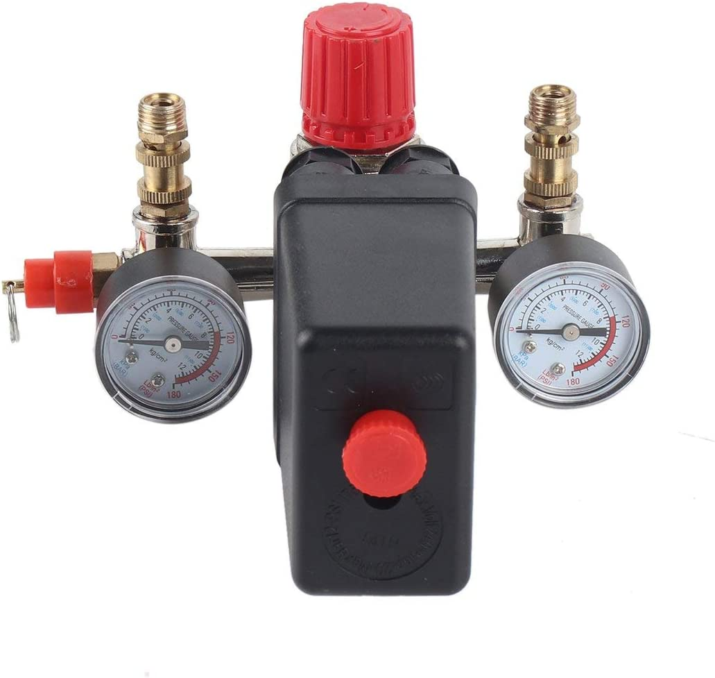 40343 Interruptor de presi/ón ajustable Compresor de aire Interruptor de presi/ón con 2 calibradores de presi/ón Conjunto de control de v/álvulas negro