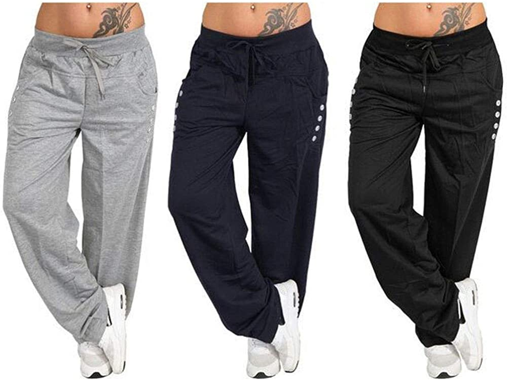 Gillberry Womens Summer Autumn Wide Leg Yoga Sports Loose Casual Pants Trousers