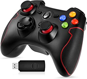EasySMX 2.4G Wireless Controller for PS3, PC Gamepads with Vibration Fire Button Range up to 10m Support PC,Laptop, Android and TV Box (Red)