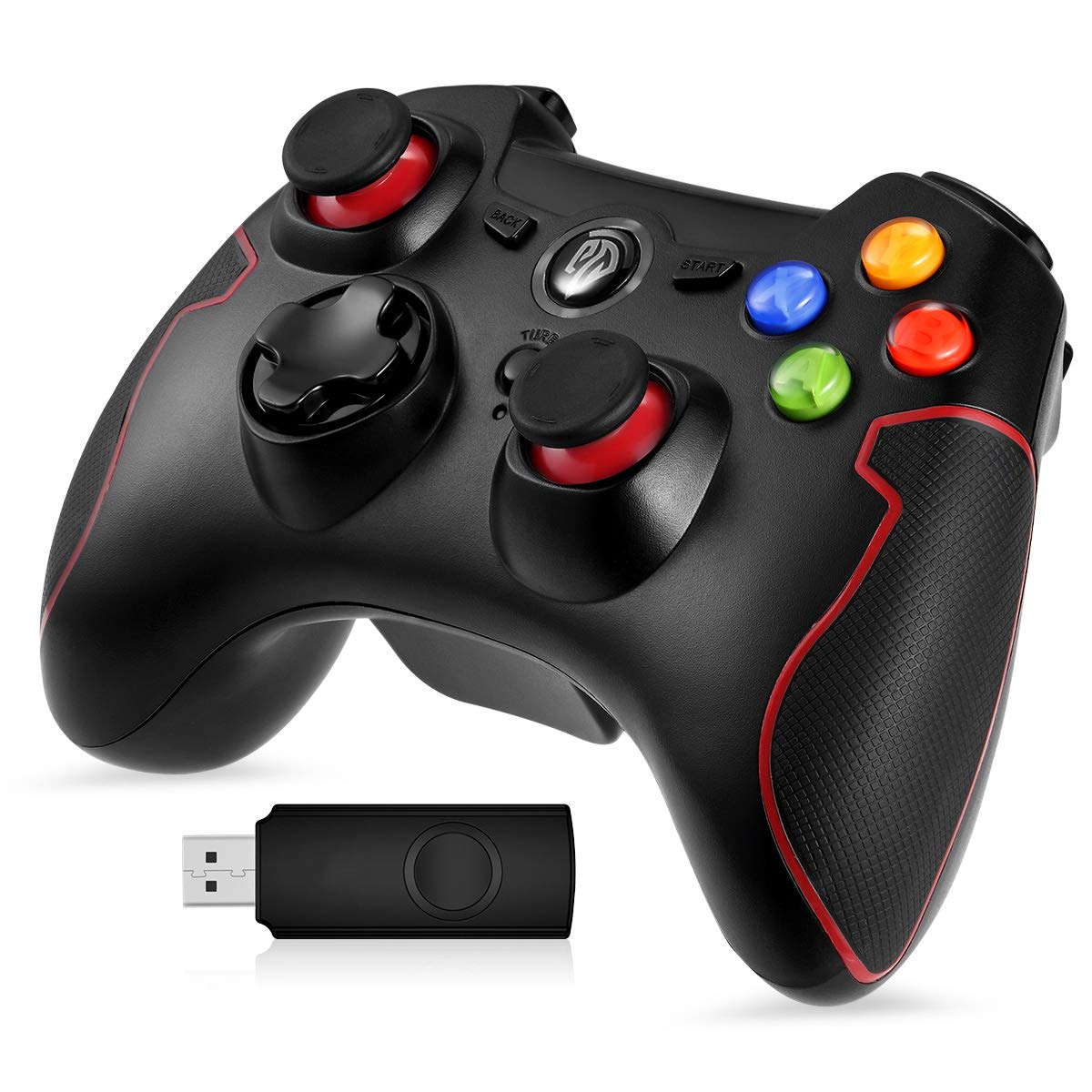PS3 Dualshock Gaming Controller, EasySMX Wireless 2.4G Gamepads with Vibration Fire Button Range up to 10m Support PC