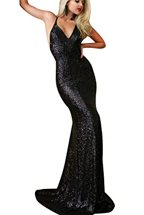 8298f99882a Staypretty Black Sequins Mermaid Dress for Women Cross Evening Gown Long  Backless 2019 Size 2