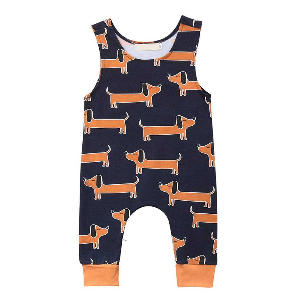 8780d89d8 Cute cartoon dog print playsuit,with zipper on leg,convenience for changing  diaper. Suitable for daily casual wear,home wear,paly wear,baby ...
