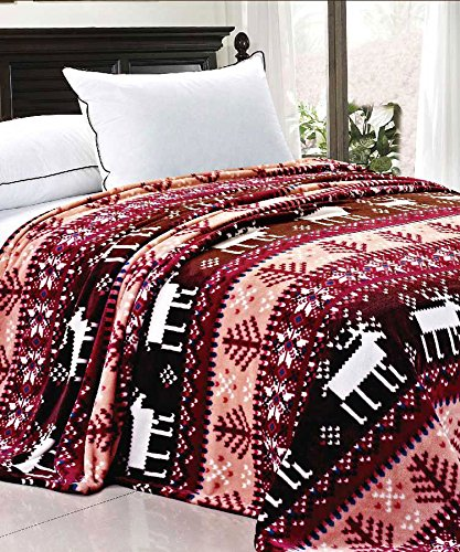 BOON Light Weight Christmas Collection Printed Flannel Fleece Blanket Burgundy Snowflake (Queen)