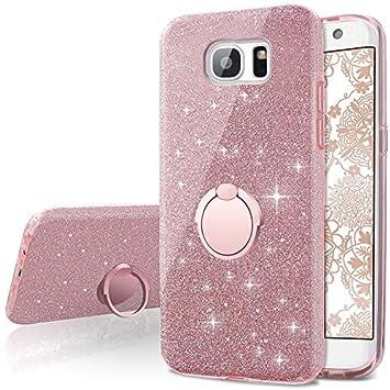 Miss Arts Funda Galaxy S7 Edge, Carcasa Brillante Brillo con Soporte Giratorio de 360 Grados, Cubierta Exterior de TPU Suave + armazón Interior de PC ...