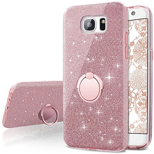 low priced 29865 51985 Galaxy S7 Edge Case,Silverback Girls Bling Glitter Sparkle Cute Phone Case  with 360 Rotating Ring Stand, Soft TPU Outer Cover + Hard PC Inner Shell ...