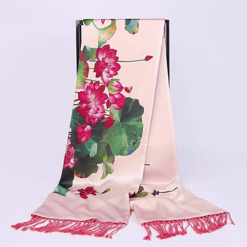 Beige Weiwei Ladies Silk Shawl Double Silk Velvet Fringed Scarf Warm Shawl 180cm55cm
