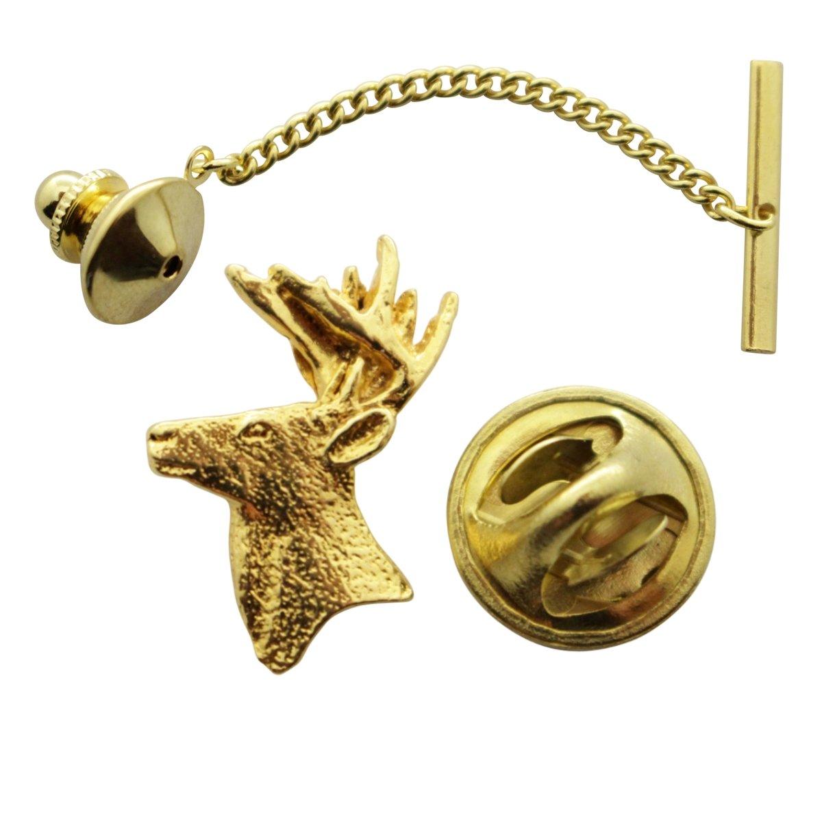 Buck Head Tie Tack ~ 24K Gold ~ Tie Tack or Pin ~ Sarah's Treats & Treasures G.G. Harris STT-M400-G-TT