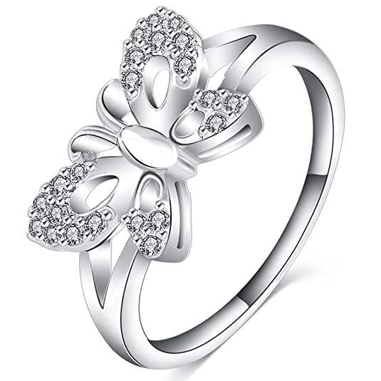 Review FENDINA Womens Jewelry Classic Wedding Engagement Bands Ring Butterfly Promise Rings for Her - 18K White Gold Plated - Luxurious Series-FR620