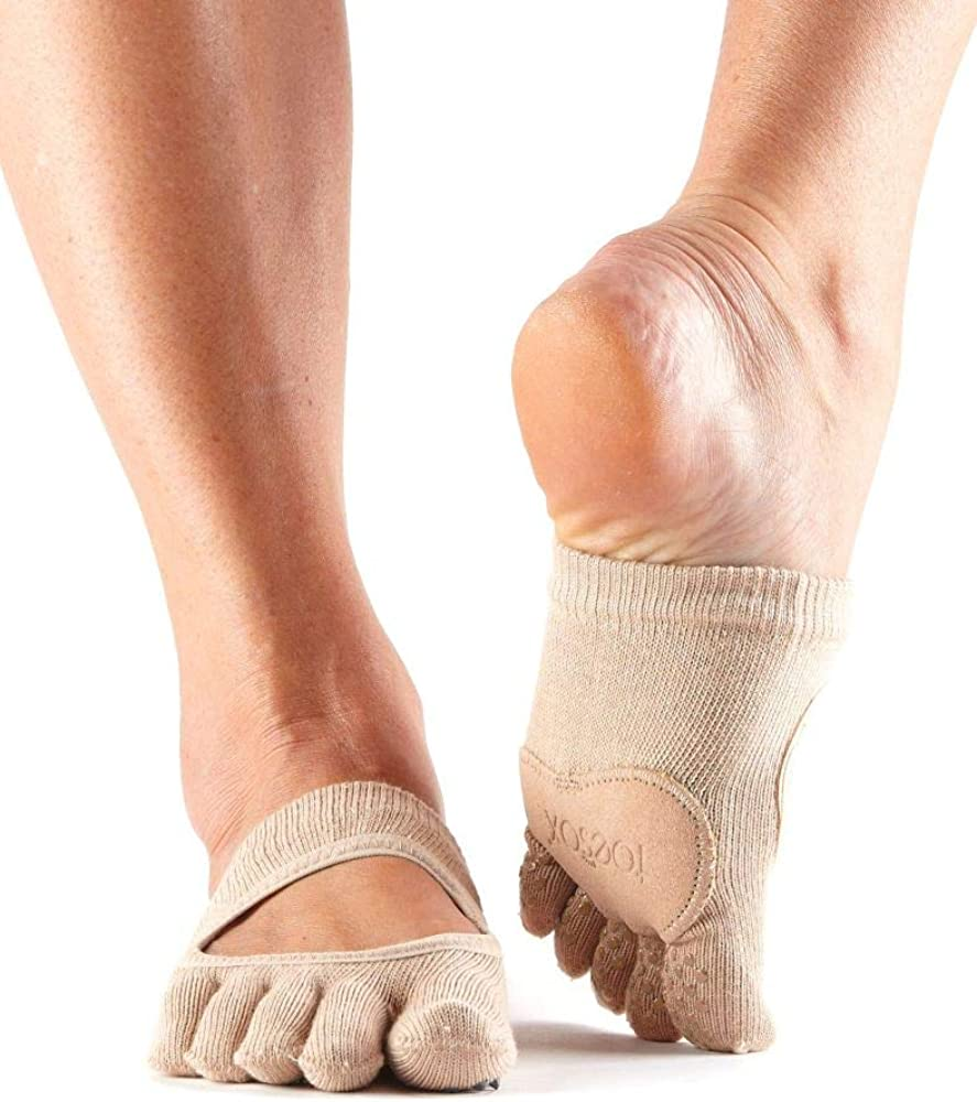 Pilates Dance ToeSox Womens Plie Full Toe Grip for Yoga Barre Toe Socks With LEATHER PAD