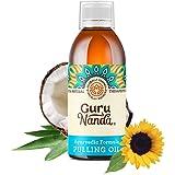 GuruNanda Oil Pulling Oil, Natural Mouthwash, Ayurvedic Blend of Coconut, Sesame, Sunflower, & Peppermint Oils. A Refreshing