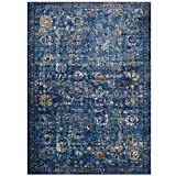 Modway R-1091D-810 Minu Distressed Floral Lattice Area Rug, 8′ x 10′, Dark Blue, Yellow and Orange