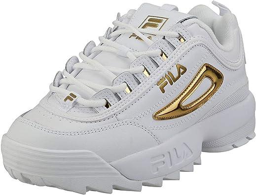Fila Disruptor II Metallic Accent Mujer Blanco/Dorado Zapatillas-UK 6 / EU 39.5: Amazon.es: Zapatos y complementos