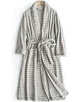 (キク)QUICOO バスローブ マイクロファイバー 男女兼用 ペア パジャマ タオル地 吸水 速乾 長袖 ポケット付き 前開き フリーサイズ ルームウェア 無地 3color