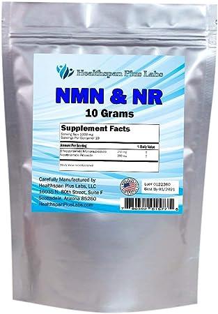 NMN & NR Supplement Powder NAD+ 10,000 mg (10 g) Bulk Powder, Nicotinamide Riboside