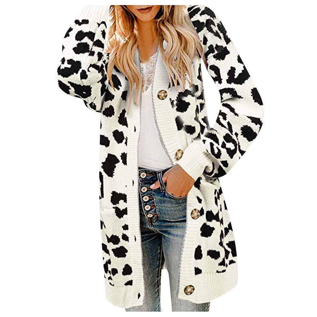 Alangbudu Women Leopard Knitted Button Down Cardigan Crochet Outwear Long Sleeve Coat Tops Tunic Sweater Jacket w Pocket White by Alangbudu-Women's Long sleeve blouses & sweatshirts & hoodies