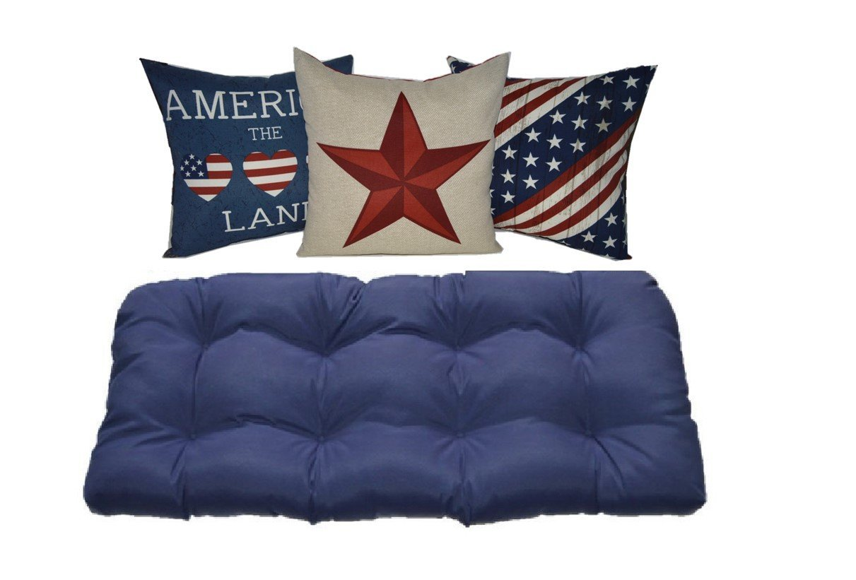 Indoor / Outdoor Navy Blue Tufted Cushion for Wicker Loveseat Settee & America / 4th of July / American Pride Pillows