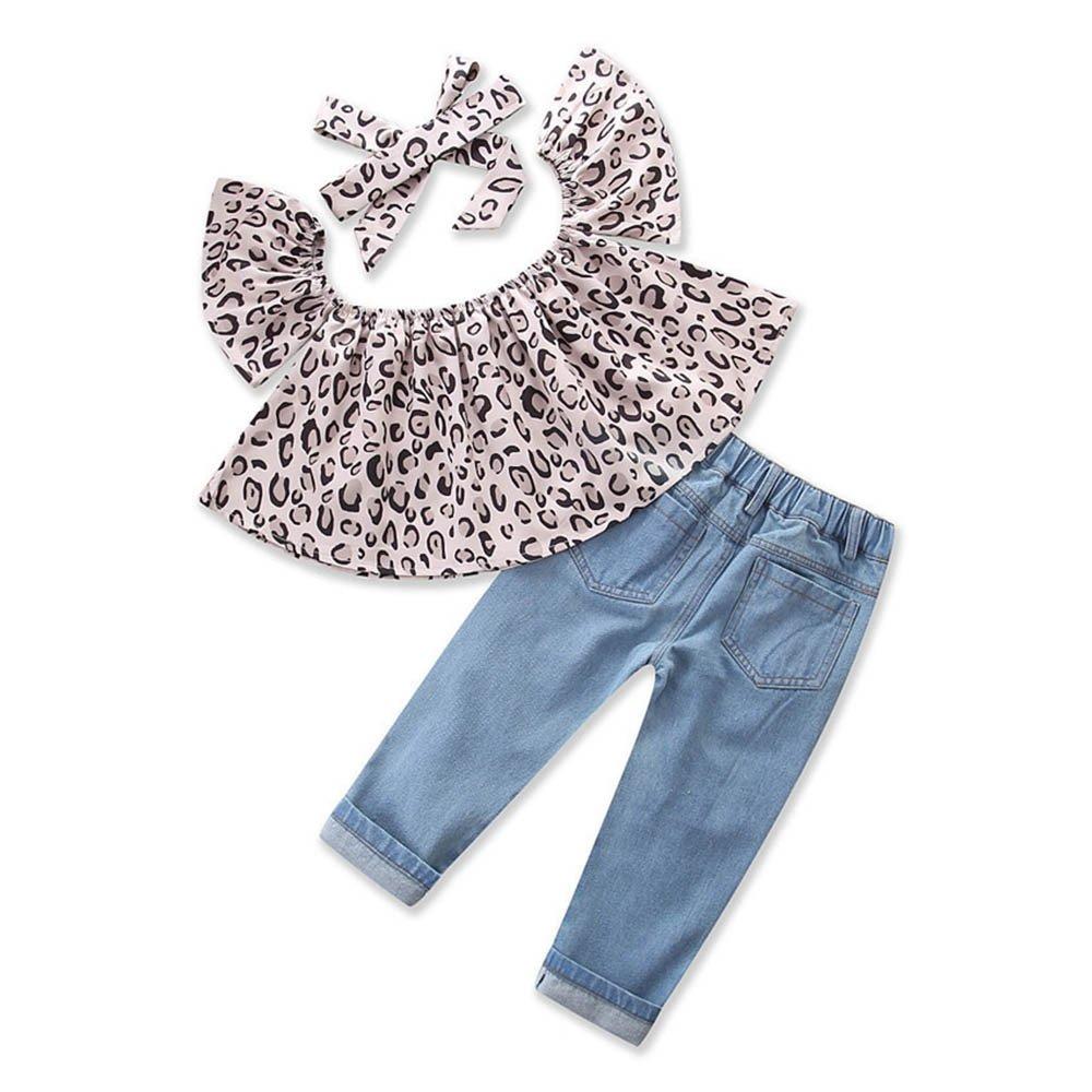 329ebe66882f Toddler Infant Baby Girl 3PCS Summer Clothing Set Off Shoulder Leopard Short  Sleeve Crop T-Shirt Tank Tops + Hole Denim Pant Jeans + Headband For 1-5  Years ...