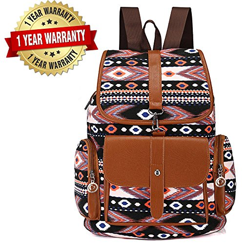 (AOAKY Women Canvas Backpack Drawstring Knapsack Girls Casual Book Bag Bohemian Style Rucksack Outdoor Sports Daypack (Black 1))