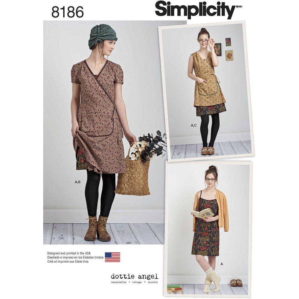 White tabard apron - Simplicity Pattern 8186 Misses Dottie Angel Frock Wrap Slip Dress White