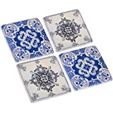 NIKKY HOME Mandala Style Resin Cork Coasters for Drinks, Set of 4