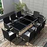 Daonanba Durable Outdoor Dining Set Comfortable Garden Dinning Set Waterproof Poly Rattan Black 17 Pcs