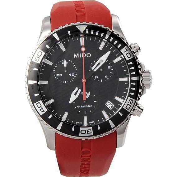 931fcb7fc2d1 Mido Ocean Star m0114171705100 Hombres Reloj cronógrafo fecha de cuarzo  rojo de goma