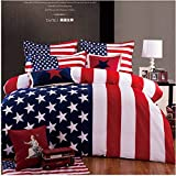 Queen's Designer Home Textile 3d Queen Size 4 Pieces Bedding Sets Fashion Classic American Flag 100% Cotton Material Without Comforter Merry Christmas Gifts