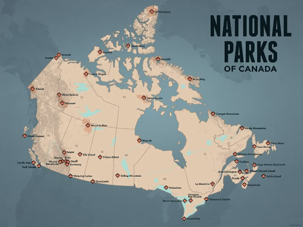 Map Of Canada National Parks Amazon.com: Best Maps Ever Canada National Parks Map 18x24 Poster