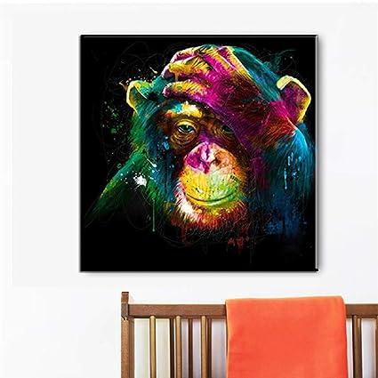 Aquarelle Animal Coloré Mignon Singe Toile Imprimé Peinture ...
