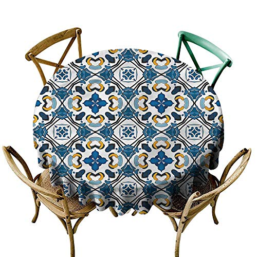 LsWOW 70 Inch 100% Polyester Round Tablecloth European Portuguese Tilework Perfect for Spring Summer Farmhouse Décor & More -