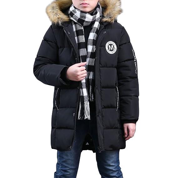 26dc9caec492f Phorecys Garçon Manteau d hiver Rembourré avec Capuche Fourrure Enfant  Parka Hiver Blouson Neige Noir