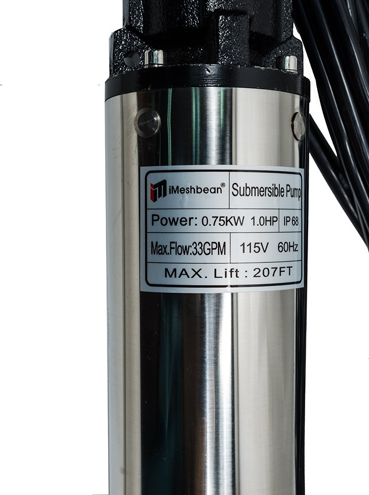 207 Head,Stainless Steel 4 Deep Well Pump 1 HP 33 GPM iMeshbean Submersible Well Pump 110V with Control Box