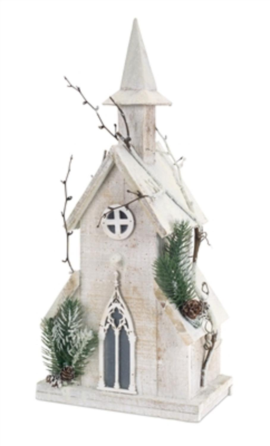 Pack of 2 Pre-Lit Wooden Church with Pine and Twigs Christmas Decorations 19'' - Clear LED Lights
