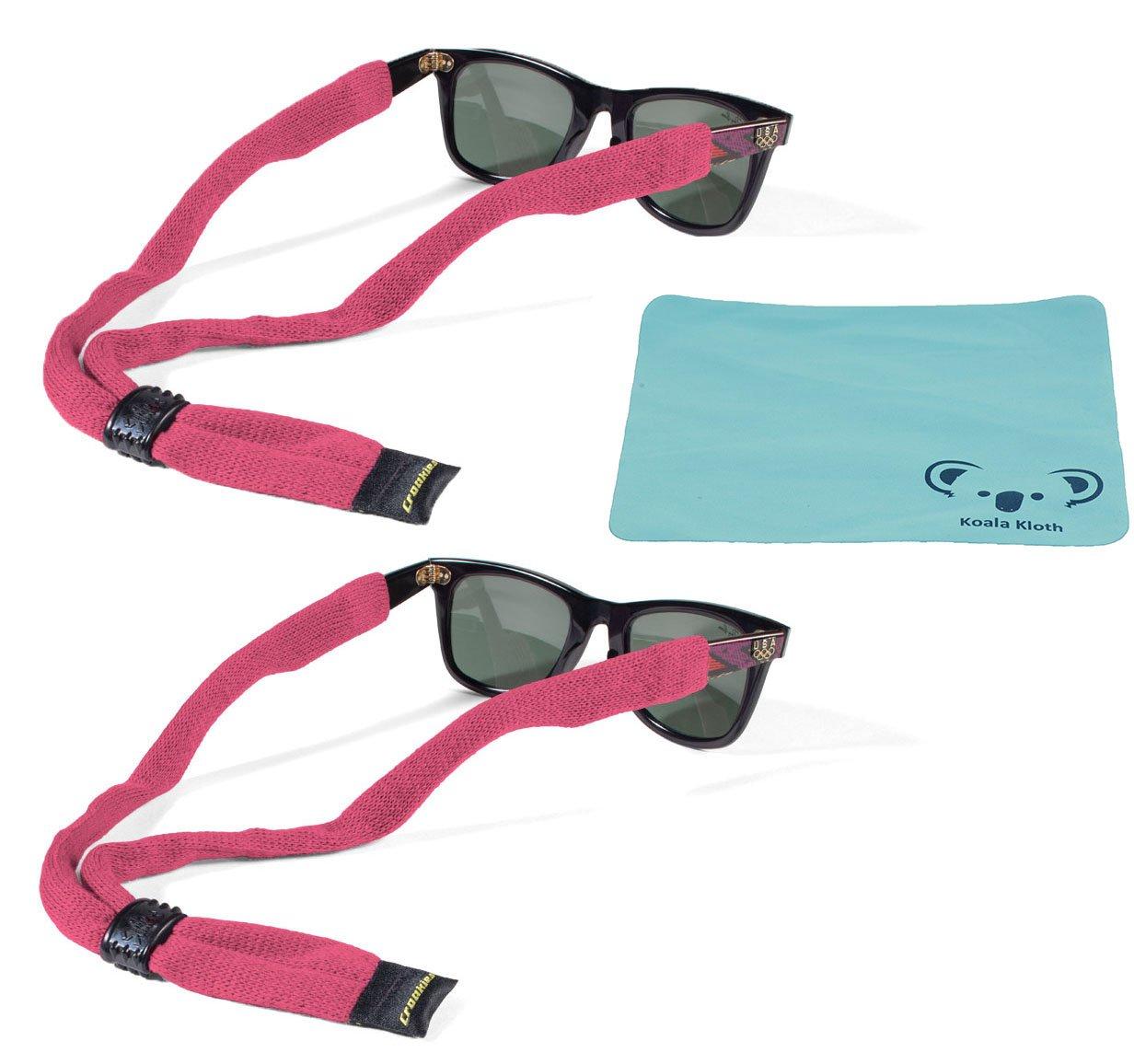 Croakies Kids Cotton Suiter Eyewear Retainer Childrens Glasses Strap   Adjustable Eyeglass and Sunglass Holder   Boys and Girls Sports Use   2pk Bundle + Cloth, Pink