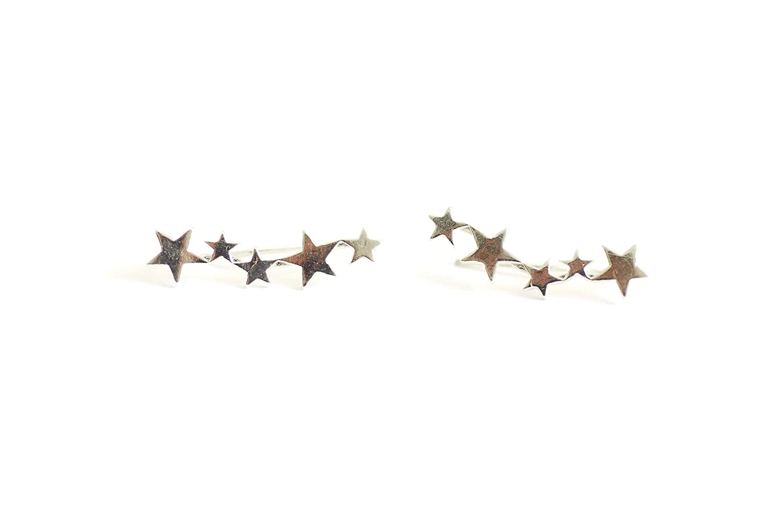 Star Crawler Climber Earrings 925 Sterling Silver Plated with 18K Gold CY Supplies UK/_B0765D7S4L