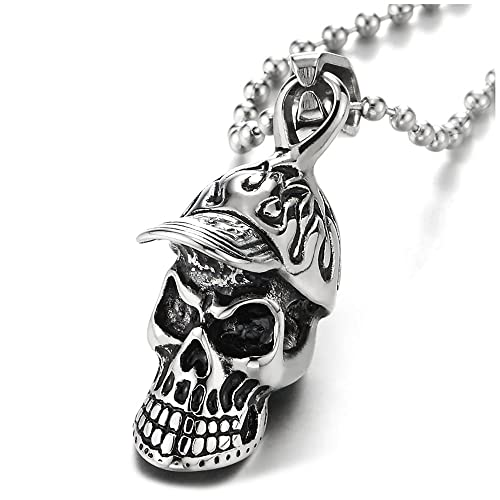 Mens Women Stainless Steel Silver Retro Gothic Punk Skull Pendant Chain Necklace