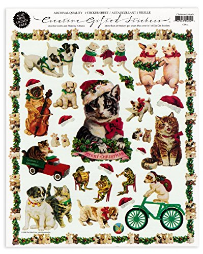 Gifted Line Stickers - Christmas Animals Pets Victorian Scrapbook Stickers 1 Sheet By John Grossman