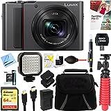 Panasonic LUMIX 4K Digital Camera ZS200 w/20 MP Sensor, 24-360mm LEICA DC Lens Zoom (SIlver) + 64GB Dual Battery Deluxe Accessory Bundle