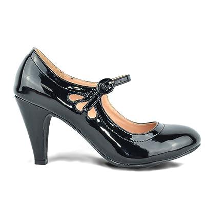 Chase & Chloe Kimmy-21 Women's Round Toe Pierced Mid Heel Mary Jane Style Dress Pumps (10, Black Patent) | Pumps
