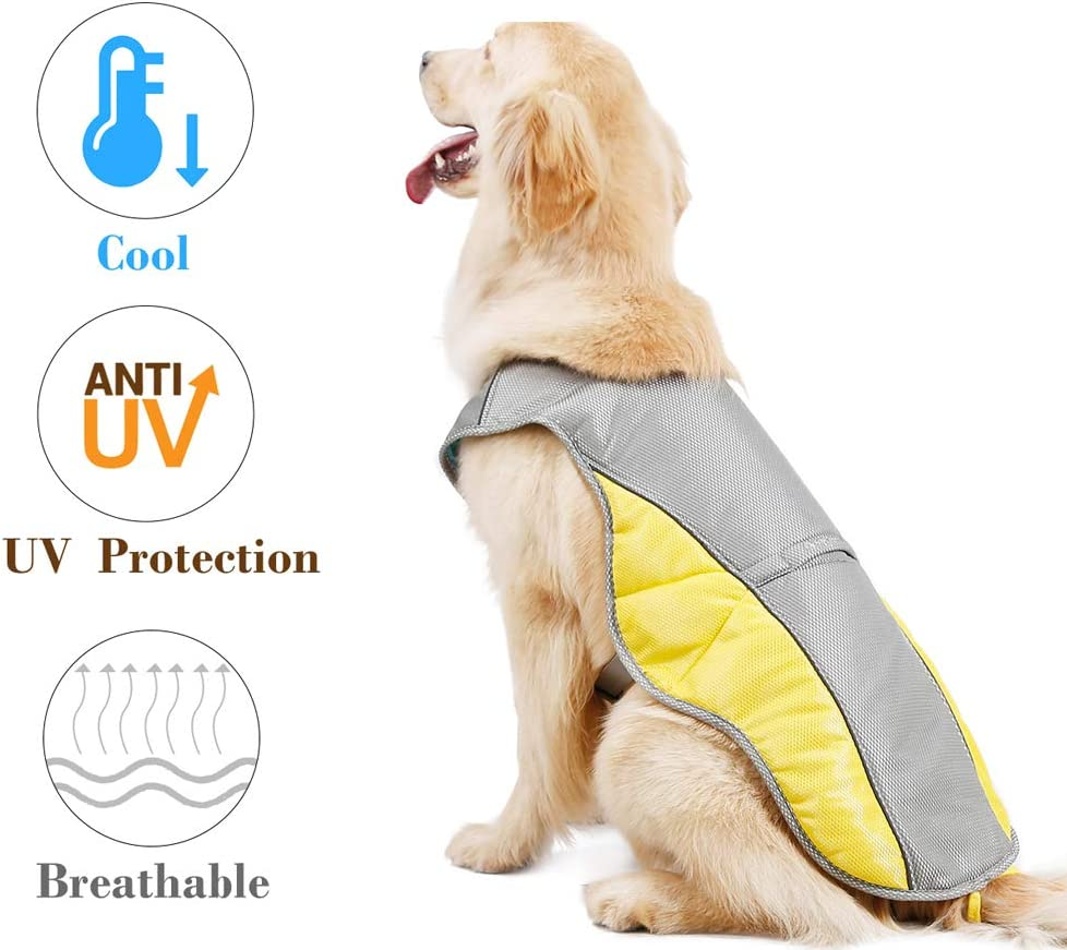 Rantow Dog Cooling Vest Harness Outdoor Puppy Cooler Jacket Reflective Safety Sun-Proof Pet Hunting Coat, Best for Small Medium Large Dogs