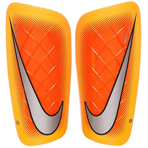 Chrome Soccer Shin Guards (Nike Mercurial Lite Soccer Shin Guard, Large, Laser Orange-Chrome)