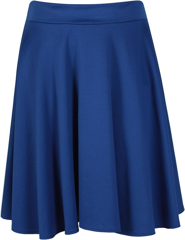 Para mujer Plain suave el/ástico se/ñoras cintura el/ástica hasta la rodilla completo Swing acampanado Skater Midi falda Plus Size