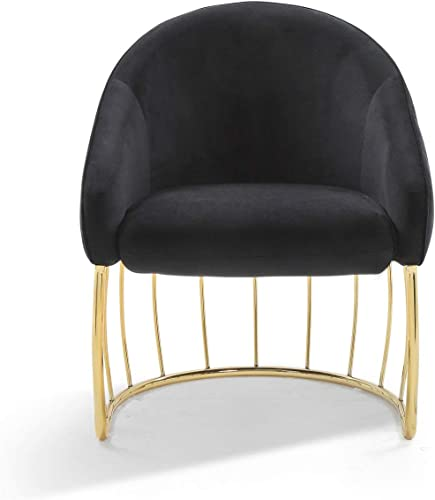 Editors' Choice: Iconic Home Teatro Accent Club Chair Shell Design Velvet Upholstered Half-Moon Gold Plated Rods Solid Metal Base Modern Contemporary
